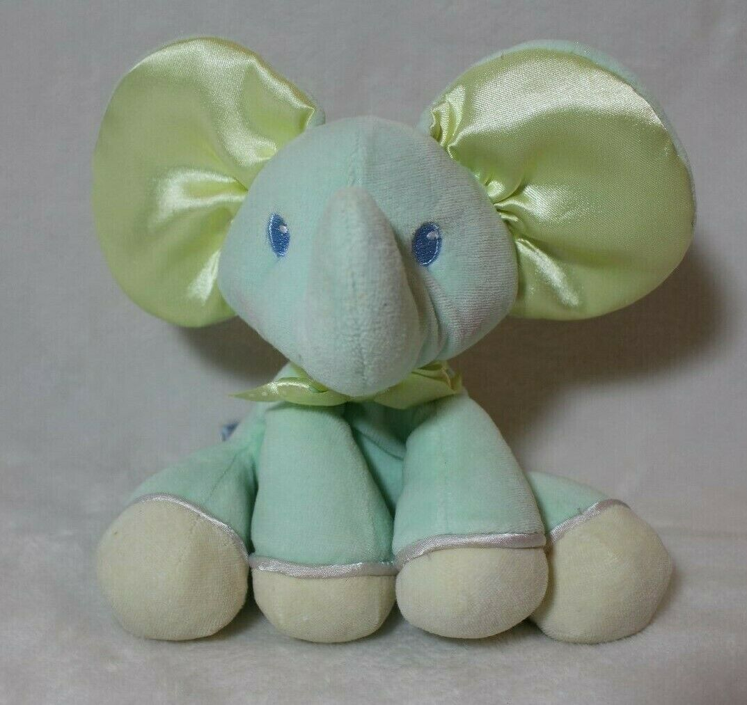 """Eden Baby Elephant Light Green Yellow Satin Ears Rattle Toy 7"""" Lovey Baby Shower - $19.79"""