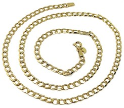 """9K GOLD GOURMETTE CUBAN CURB LINKS FLAT CHAIN 4mm, 50cm, 20"""", BRIGHT NECKLACE image 1"""