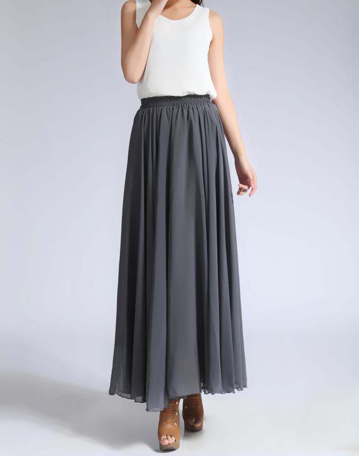 Chiffon skirt gray 1