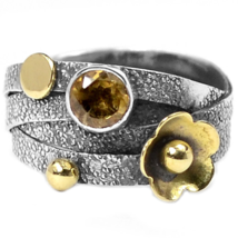 Special Sale, Adorable Small Citrine Ring, Size 8 or Q, 925 Silver and C... - $18.40