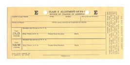 WWII U.S. Military 1944 Class E Allotment-Of-Pay Change of Address Card ... - $9.99