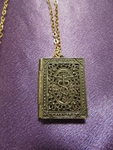 Antique Filigree Medical CADUCEUS Locket with Picture Inside Necklace - $64.35
