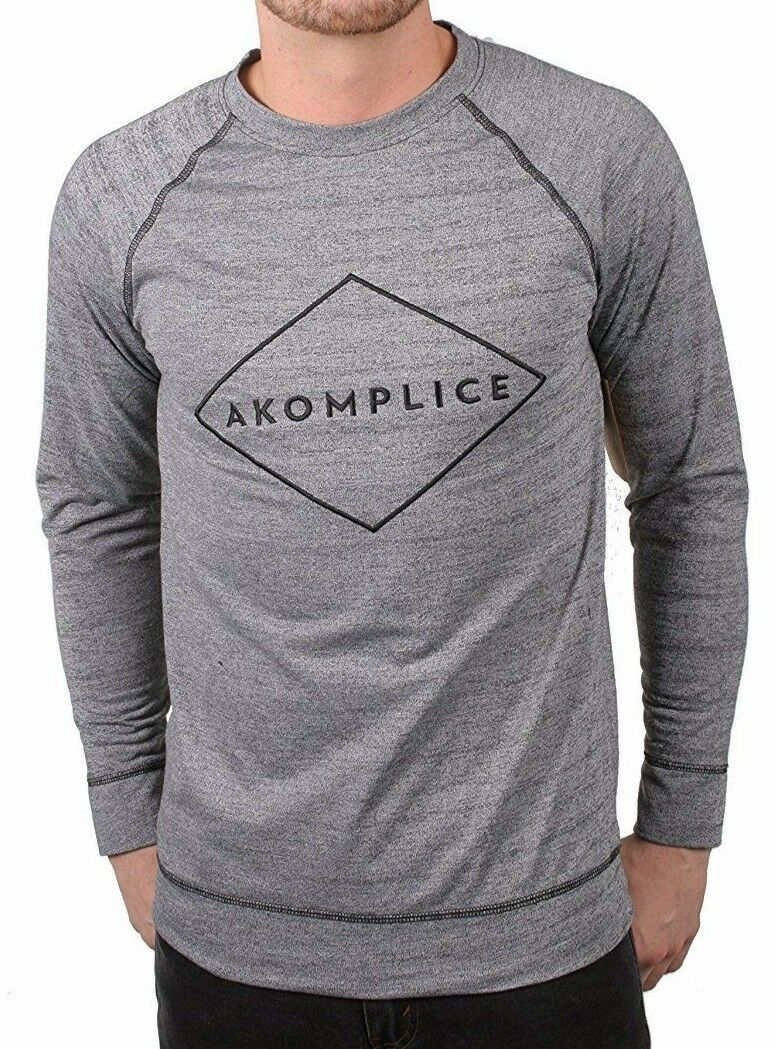 Akomplice Hommes Gris Sport Logo Raglan Col Rond Manches Longues Chemise Nwt