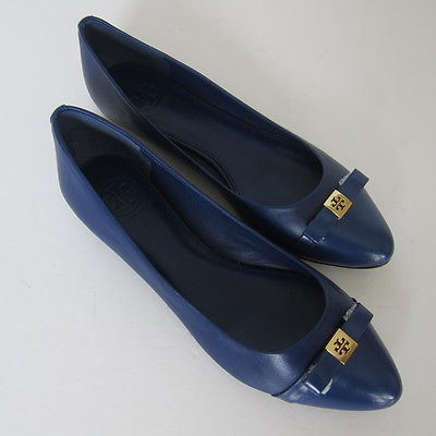 w-116156 NEUF Tory Burch OUTREMER hugo-flat-mesticol / COFFRET MOLLET TAILLE US