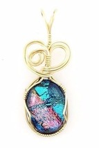 COLORFUL WIRE WRAP FUSED GLASS PENDANT IN 14 K GOLD FILL WIRE - $47.52