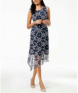 Alfani WOMEN'S Embroidered Asymmetrical Dress NIGHT SKY NAVY SIZE 4 MSRP... - $30.69