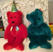 "TY Beanie Babies ""TEAL TEDDY"" Teddy Bear and ""HAPPY BIRTHDAY"" Red Bear  - $22.80"