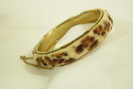 Vintage Faux FUR Bangle Hinged Bracelet BIG CAT Safety Chain FUN Nature ... - $13.85