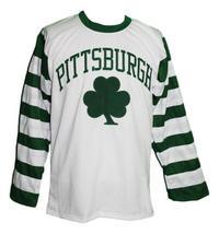 Custom Name # Pittsburgh Shamrocks Retro Hockey Jersey New White Any Size image 1