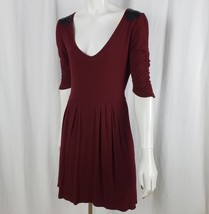 Anthropologie Tulle Women Dress Medium Jersey Sequin Shoulder Vneck Red - $19.99