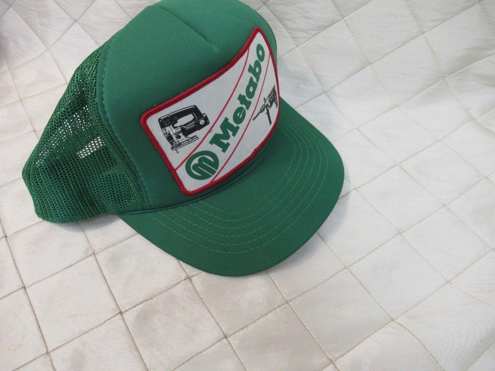 e776d97adf8 Vintage Metabo Power Tools Trucker Hat Snapback Cap Green NOS