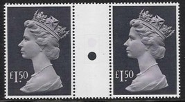 GB 1986 £1.50 Machin traffic light gutter pairs MNH Unfolded stamps Free... - $10.29