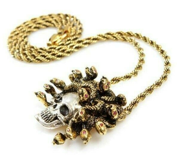 "Han Cholo Silver Gold Plated Medusa Skull Pendant with 26"" Rope Chain NEW"