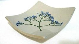 Ring Tray Trinket Dish Wild Flowers Maine Pottery signed  Virgina Santer... - $21.04