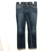 Silver Jeans Womens 29 Suki Straight Jeans Dark Wash Decorative Pocket - $16.14