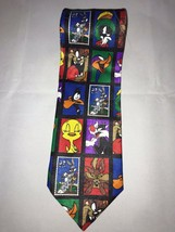 VTG Looney Tunes Bugs Bunny Daffy Duck 1997 Stamp Collection Classic Neck Tie - $24.74