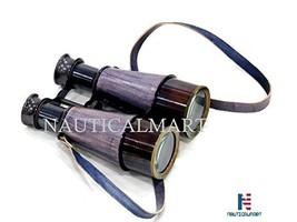 NauticalMart Binocular with Leather Overlay in Wood Box - $78.21