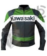 KAWASAKI GREEN MOTORBIKE MOTORCYCLE COWHIDE LEATHER ARMOURED CUSTOM MADE JACKET - $184.99