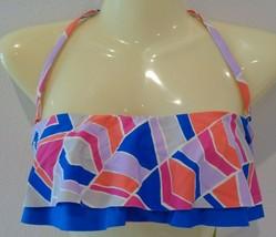 Gianni Bini Size Medium REM SC RUFFLE BANDEAU Geo New Bikini Top Swimwear - $56.43