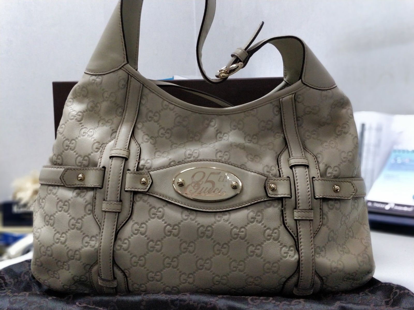 9046e4574 Auth Gucci Limited Edition 85th Anniversary White Leather Bridal Brit Hobo  Bag
