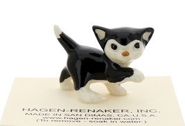 Hagen-Renaker Miniature Ceramic Cat Figurine Black and White Tuxedo Cat Kitten