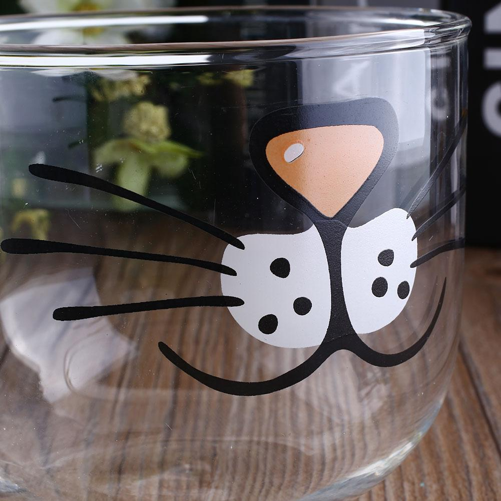 Cat Glass Coffee Mug Home Decoration Transparent Clear Water Mugs 550ML