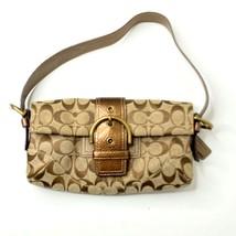 COACH Metallic G05Q-8K38 Khaki Bronze Faux Snakeskin Handbag Small Bag P... - $49.49