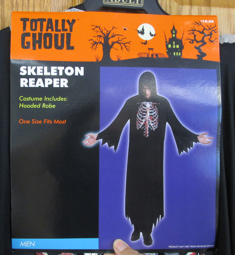 Skeleton Reaper Halloween Costume Mens Black Hooded Robe Bloody Chest Rib Cage