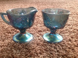 Indiana Blue Carnival Glass Harvest Grape Footed Creamer Cream & Sugar Bowl - $10.82