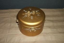 VINTAGE TOLE RHINESTONE ROSES SWAGS VANITY POWDER BOX GLAM CHIC SHABBY P... - $31.34