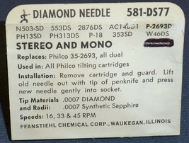 PHONOGRAPH NEEDLE for Philco 35-2693 Philco Tilt Cartridge 76-459612 581-DS77 image 2