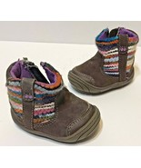 Surprise Stride Rite Baby Girl Size 2 Brown Boots Multi Knit Trim Side Zip - $8.64