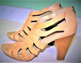 Franco Sarto Strappy Heels 7.5 Citrix Leather Tan - $12.59