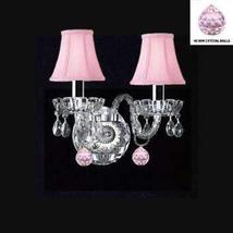 Murano Venetian Style Crystal Wall Sconce Lighting with Pink Balls & Pin... - $87.21
