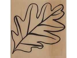 Large Leaf Wood Mounted Rubber Stamp image 1