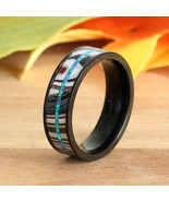 Natural Blue Opal Fordite Ring Black Stainless Steel Wedding Band - $79.99