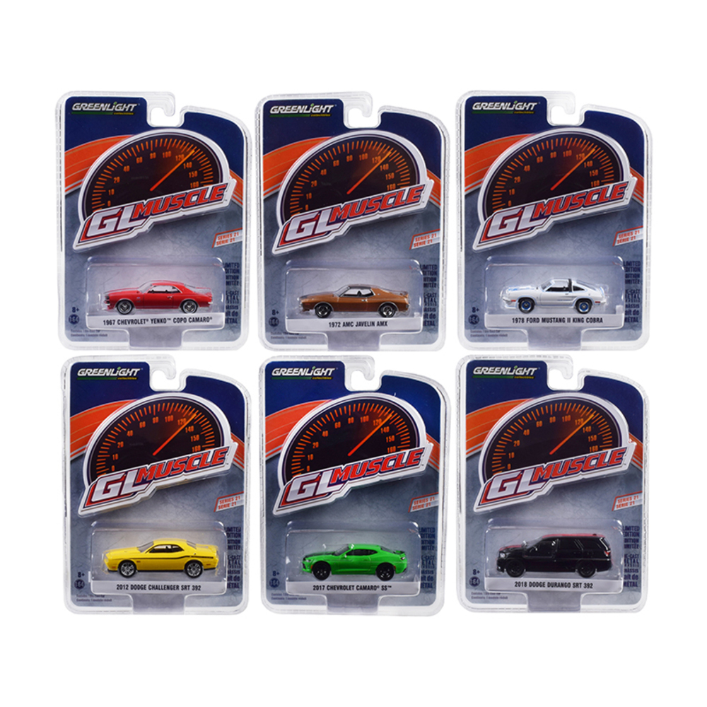 Greenlight Muscle Series 21, Set of 6 Cars 1/64 Diecast Model Cars by Greenlight