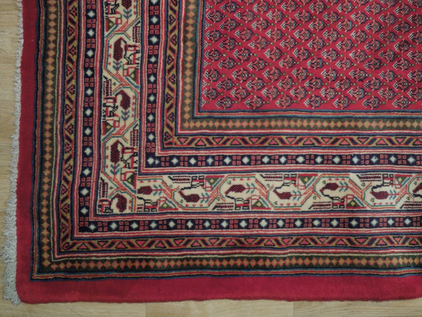 Vivid Boteh Flamed All-Over Persian Hand-Knotted 7x10 Red Mir Wool Area Rug image 7