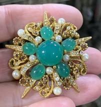 Vintage Signed ART Faux Chrysoprase Glass Rhinestones Pearls Brooch - $48.27