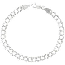 Sterling Silver Double Link Charm Bracelet (7.0 Inches|5.3 mm (3/16 inch)) - $26.73