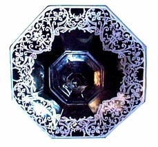 Black Glass and Sterling Silver Overlay - Octagon Candy Dish, Vanity Dre... - $37.99