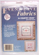 NEW Evenweave Fabrics, Country Road, Brick Red Square, Pillow or Picture, #50239 - $8.99