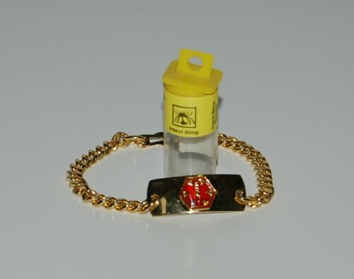 Apothecary Products 91213 Gold Color Insect Stings Medical Alert Bracelet