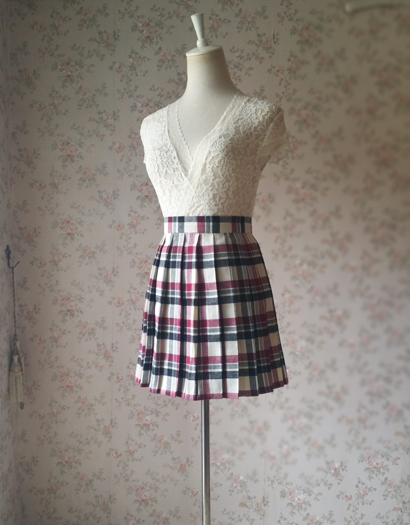 Red White Black Plaid Skirt School Style Women Girl Pleated Plaid Skirts-flannel