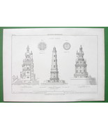 ARCHITECTURE PRINT 1868 : France Lighthouse at Cordouan - $23.29