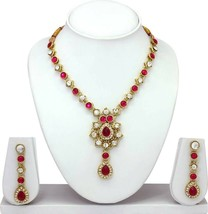 Pink Valentine's day Indian Fashion Jewelry Gold Tone Necklace Set For Girl's - $13.85