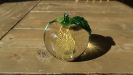 VINTAGE Glass APPLE Paperweight by RITZ - $35.63