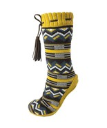 Altos Print Fuzzy Shea Butter Infused Slipper Booties Yellow - $40.00