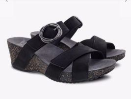 Dansko Nubuck Wedge Slides With Buckle Sandals, Black, 41 EU/10.5 US - $69.29