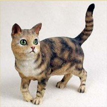 SHORTHAIRED BROWN TABBY STANDING CAT Figurine Statue Hand Painted Resin ... - $17.25